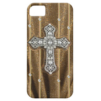 Gold Tone Rhinestones & Cross IPHONE CASE Case For The iPhone 5