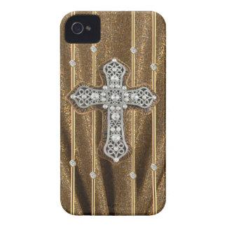 Gold Tone Rhinestones & Cross IPHONE CASE iPhone 4 Case