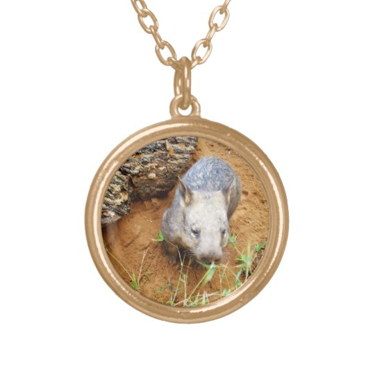 Gold_Toned_Hairy_Nose_Wombat,_Pendant_Necklace. Gold Plated Necklace