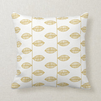 Gold Tones Abstract Leafs pattern Throw Pillow