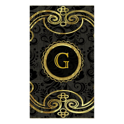 Gold Tones Baroque Swirls Pattern 2 Business Card Template