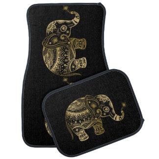 Gold Tones Cute Tribal Elephant Car Mat
