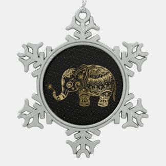 Gold Tones Elephant Illustration Pewter Snowflake Decoration
