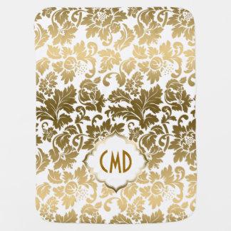 Gold Tones Floral Damasks Over White Background Swaddle Blankets