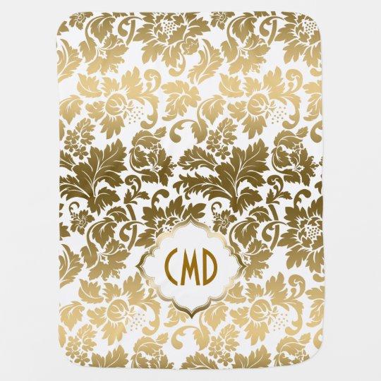 Gold Tones Floral Damasks Over White Background Swaddle