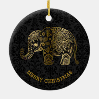 Gold Tones Floral Elephant On Black Damasks Christmas Ornament