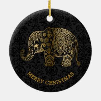 Gold Tones Floral Elephant On Black Damasks Round Ceramic Decoration