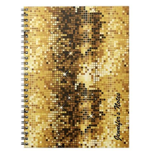Gold Tones Retro Discoball Glitter Notebooks