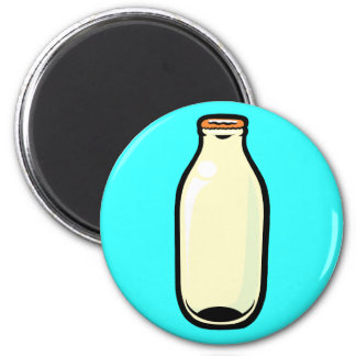 Gold Top Milk Bottle 6 Cm Round Magnet