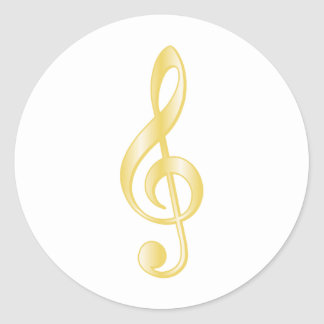 """Gold"" Treble Clef Classic Round Sticker"