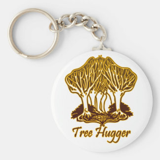 Gold Tree Hugger Nature Trees Environment Basic Round Button Key Ring