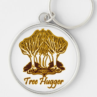 Gold Tree Hugger Nature Trees Environment Silver-Colored Round Key Ring