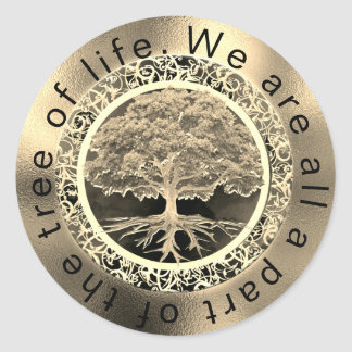 Gold Tree of Life Classic Round Sticker