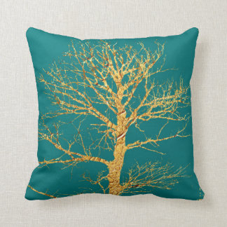 Gold Tree on Teal Cushion