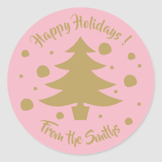 Gold tree & polka dots Holiday stickers