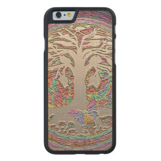 Gold Tree with Butterly Carved Maple iPhone 6 Case