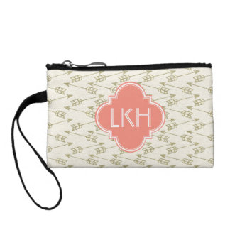 Gold Tribal Arrows Pattern | Coral Monogram Coin Purse