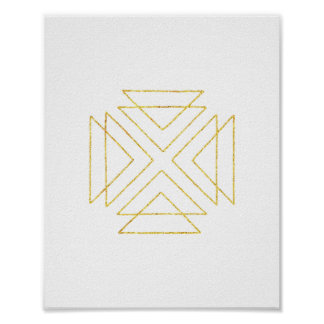 Gold Tribal Triangles Geometric Wall Art