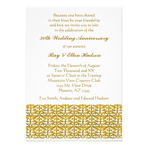 Gold trim th wedding anniversary invitations cm