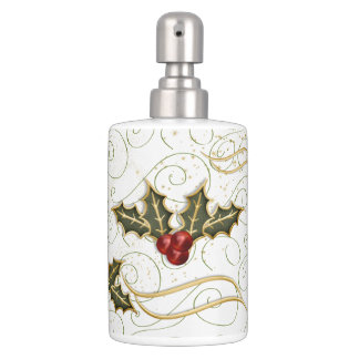 Gold Trimmed Holly and Red Berries Holiday Bathroom Set