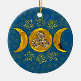 Gold Triple Moon, Holly & Silver Triple Spiral Round Ceramic Decoration