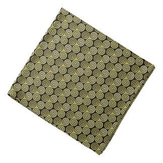 Gold Triple spiral black background Kerchief