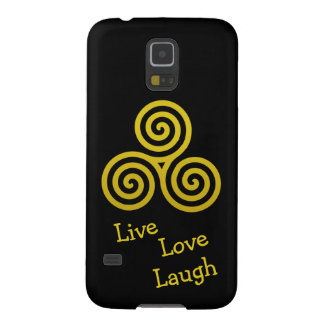 Gold Triple spiral live love laugh Cases For Galaxy S5