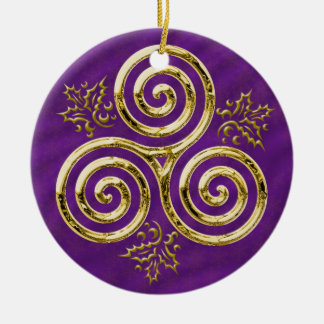 Gold Triple Spiral with Holly Leaves on Purple Round Ceramic Decoration
