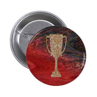 Gold TROPHY : Award Reward Celebration 6 Cm Round Badge