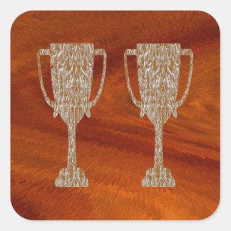 Gold TROPHY : Award Reward Celebration Square Sticker
