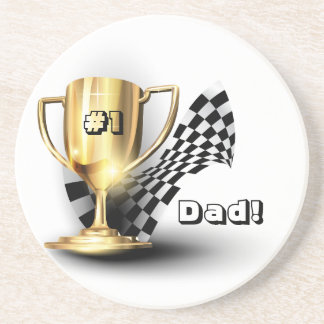 Gold Trophy NUmber One Dad Father's Day Drink Coasters