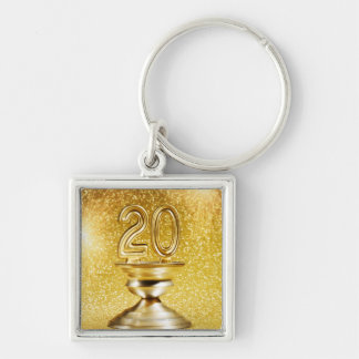 Gold Trophy Silver-Colored Square Key Ring