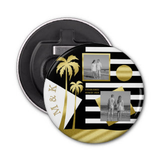 Gold Tropical Palm Trees Beach Instagram Photos Bottle Opener