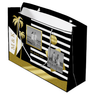 Gold Tropical Palm Trees Beach Instagram Photos Large Gift Bag