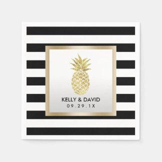 Gold Tropical Pineapple Modern Stripes Wedding Paper Serviettes