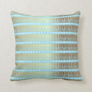 Gold Turquoise Aquamarine Blue Metallic Royal Vip Throw Pillow