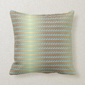 Gold Turquoise Aquamarine Stripes Metallic Royal Cushion