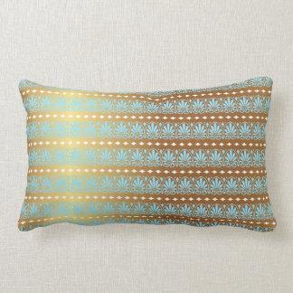 Gold Turquoise Aquamarine Stripes Metallic Royal Lumbar Pillow
