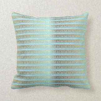 Gold Turquoise Aquamarine Stripes Metallic Royal Throw Pillow