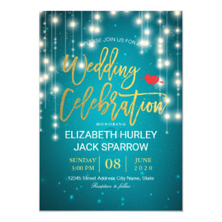 Gold & Turquoise String Lights Wedding Celebration Card