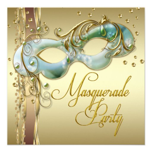 Gold Turquoise Teal Blue Masquerade Party Custom Announcements