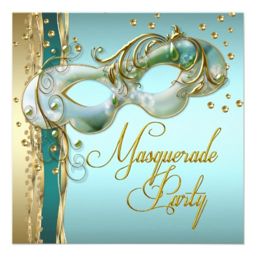 Gold Turquoise Teal Blue Masquerade Party Invitations