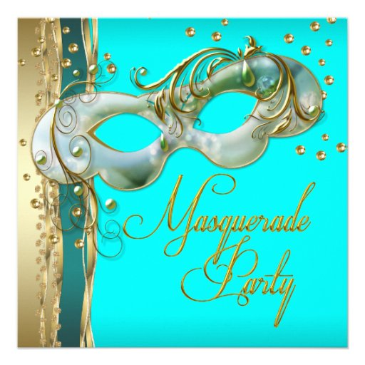 Gold Turquoise Teal Blue Masquerade Party Custom Invitations