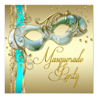 Gold Turquoise Teal Blue Masquerade Party 5.25x5.25 Square Paper Invitation Card