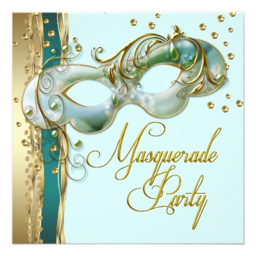 Gold Turquoise Teal Blue Masquerade Party Invitation