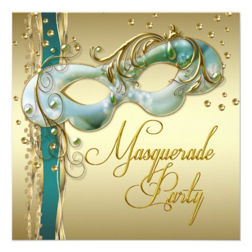 Gold Turquoise Teal Blue Masquerade Party Personalized Announcements