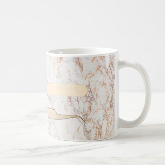 Gold Tweezers on Pink Marble Mug