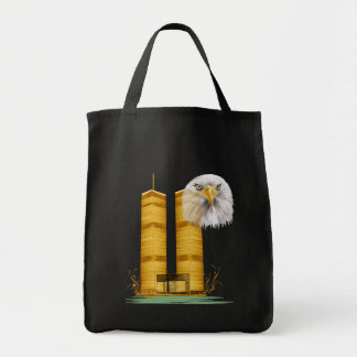 Gold Twin Towers OvalGold Twin Towers and Eagle Grocery Tote Bag