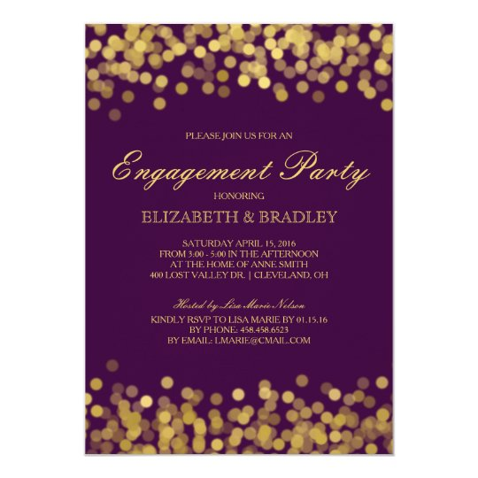 Gold Twinkle Modern Bridal Engagement Party Card