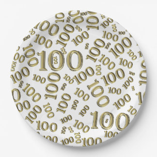 Gold Typography Any 100th Event Party/Celebration 9 Inch Paper Plate